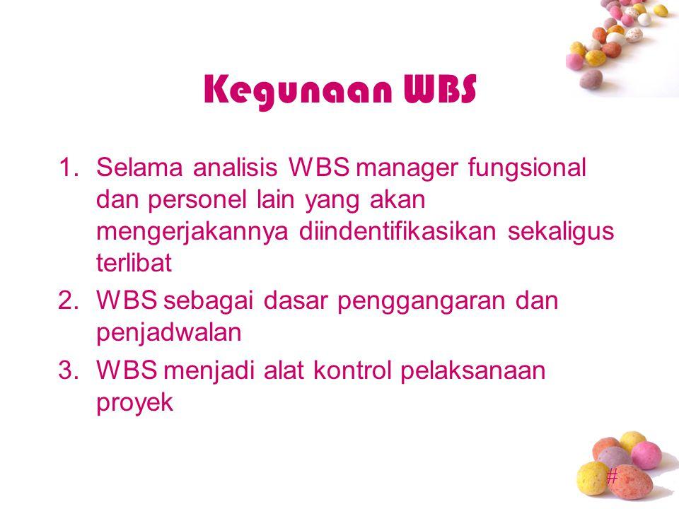 Kegunaan WBS Selama analisis WBS manager fungsional dan personel lain yang akan mengerjakannya diindentifikasikan sekaligus terlibat.