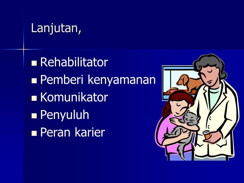 Lanjutan, Rehabilitator Pemberi kenyamanan Komunikator Penyuluh Peran karier