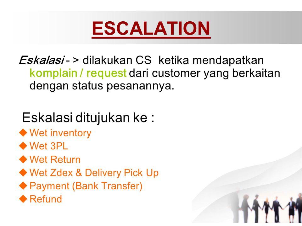ESCALATION Eskalasi ditujukan ke :