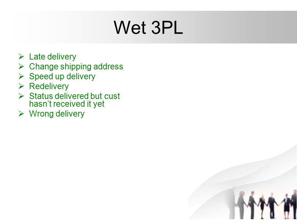 Wet 3PL Late delivery Change shipping address Speed up delivery