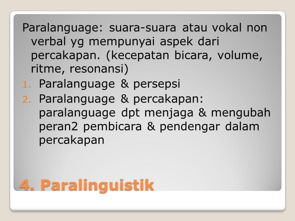 Paralanguage: suara-suara atau vokal non verbal yg mempunyai aspek dari percakapan. (kecepatan bicara, volume, ritme, resonansi)