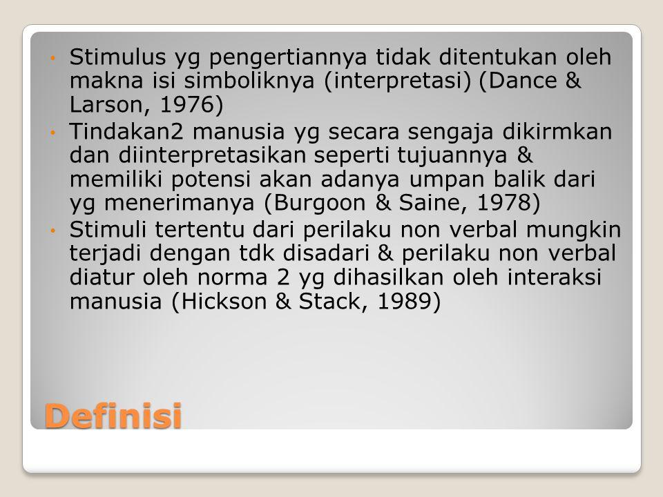 Stimulus yg pengertiannya tidak ditentukan oleh makna isi simboliknya (interpretasi) (Dance & Larson, 1976)