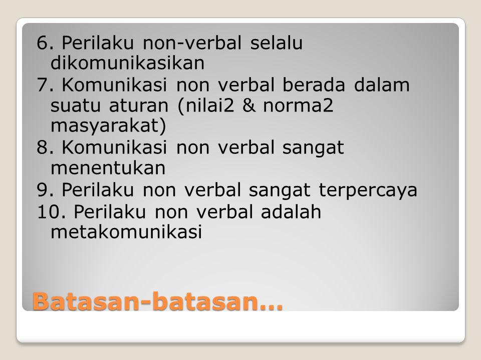 6. Perilaku non-verbal selalu dikomunikasikan 7