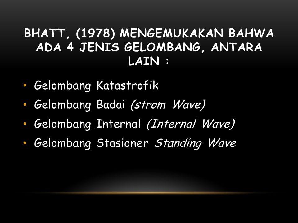Bhatt, (1978) mengemukakan bahwa ada 4 jenis gelombang, antara lain :