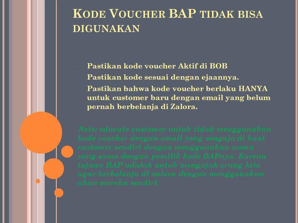 Kode Voucher BAP tidak bisa digunakan