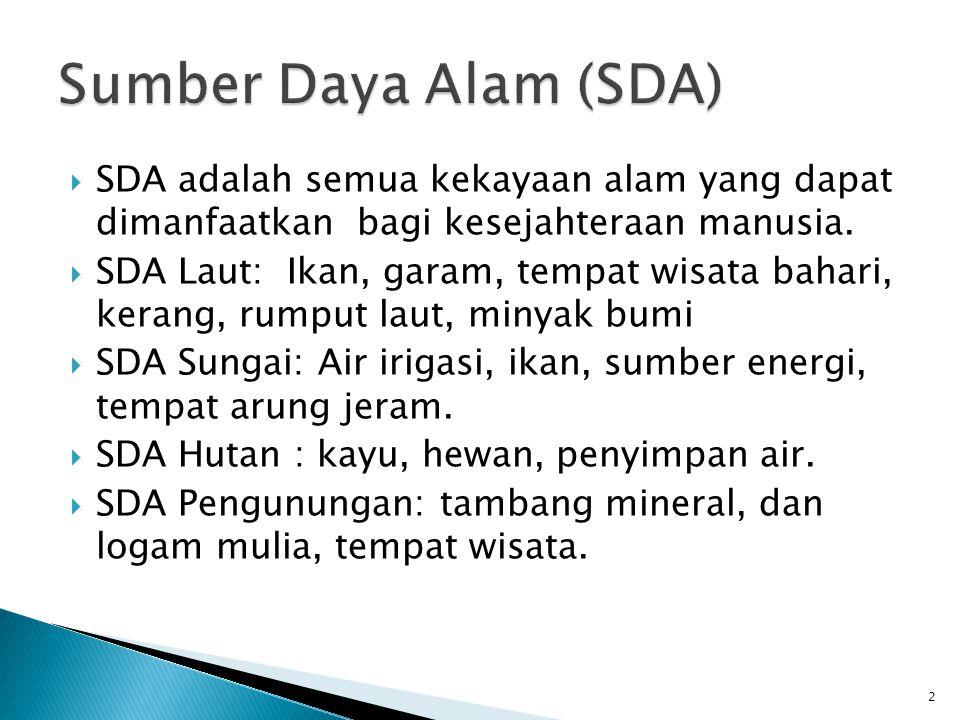Sumber Daya Alam (SDA) SDA adalah semua kekayaan alam yang dapat dimanfaatkan bagi kesejahteraan manusia.
