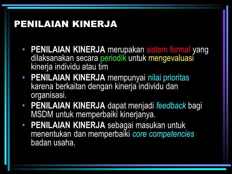 PENILAIAN KINERJA PENILAIAN KINERJA merupakan sistem formal yang dilaksanakan secara periodik untuk mengevaluasi kinerja individu atau tim.