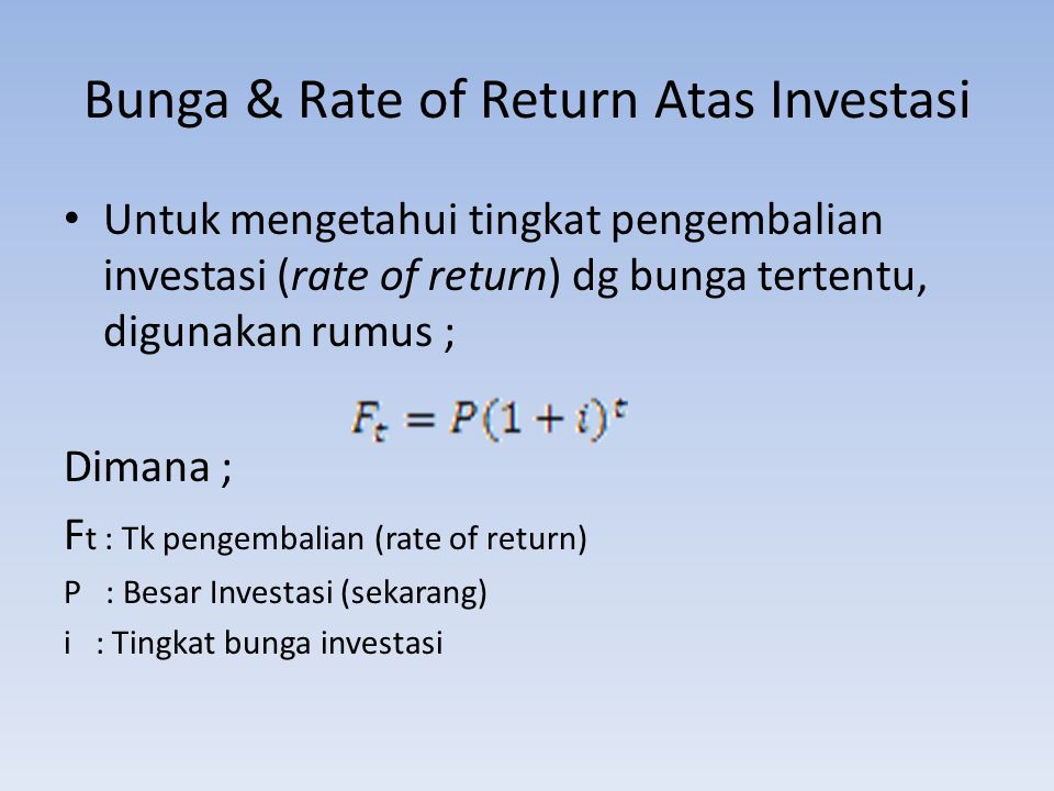 Bunga & Rate of Return Atas Investasi