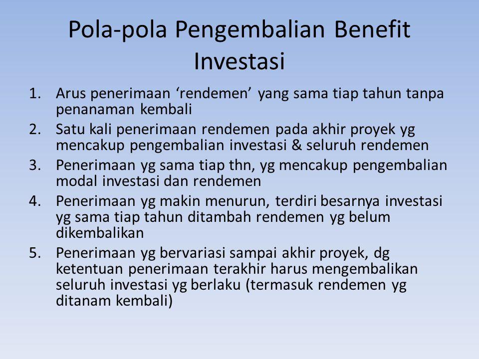 Pola-pola Pengembalian Benefit Investasi