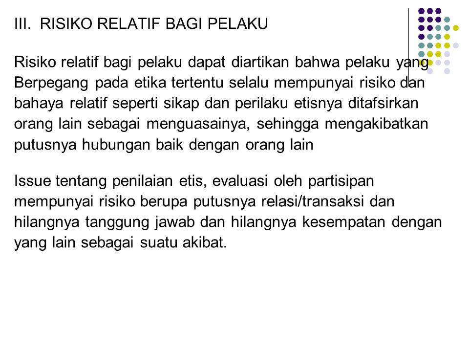 III. RISIKO RELATIF BAGI PELAKU