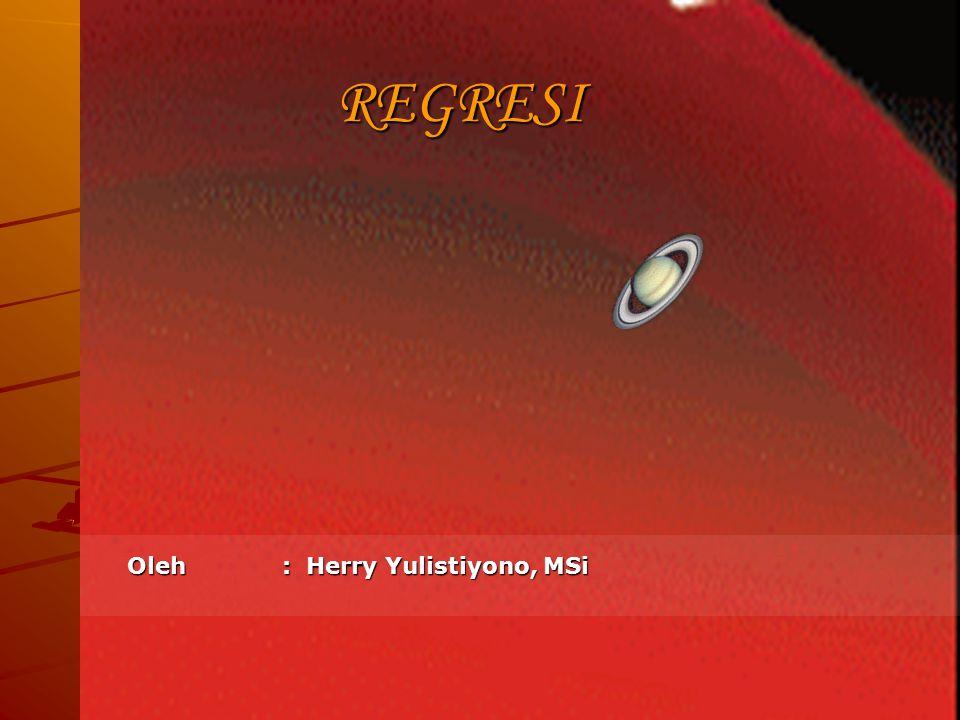 REGRESI Oleh : Herry Yulistiyono, MSi