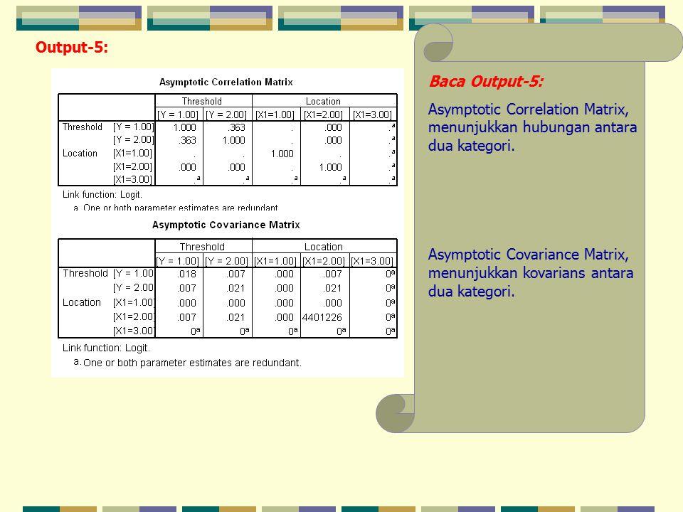 Output-5: Baca Output-5: Asymptotic Correlation Matrix, menunjukkan hubungan antara dua kategori.