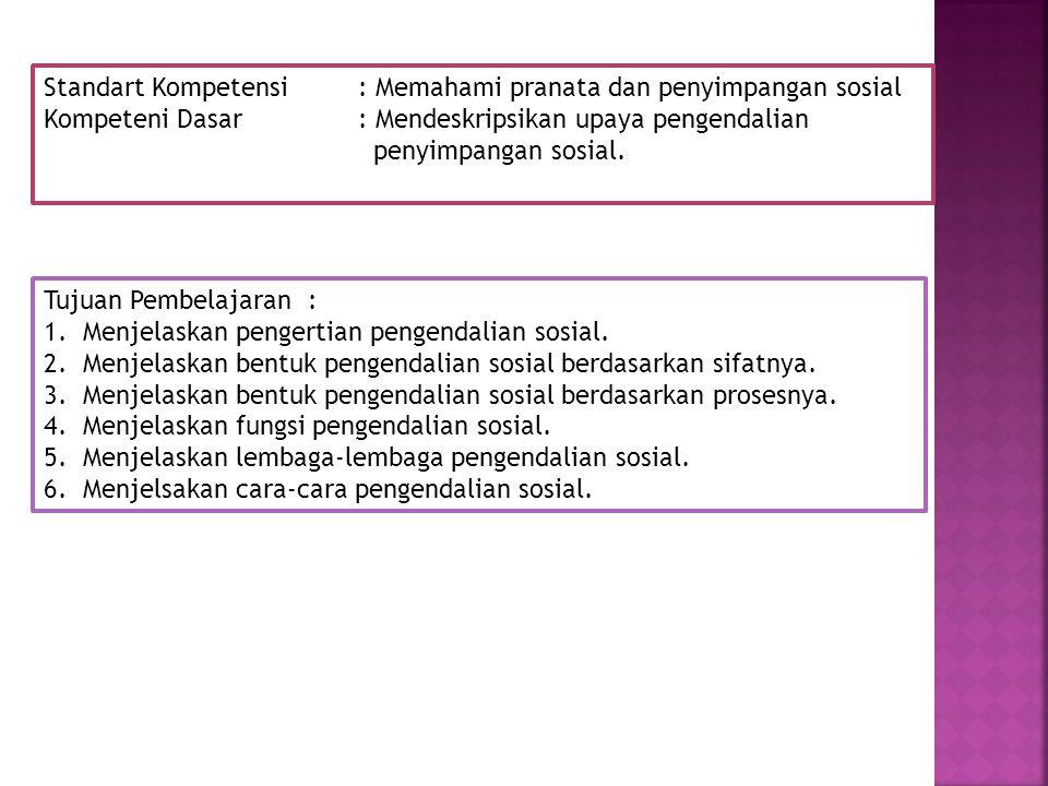 Standart Kompetensi : Memahami pranata dan penyimpangan sosial