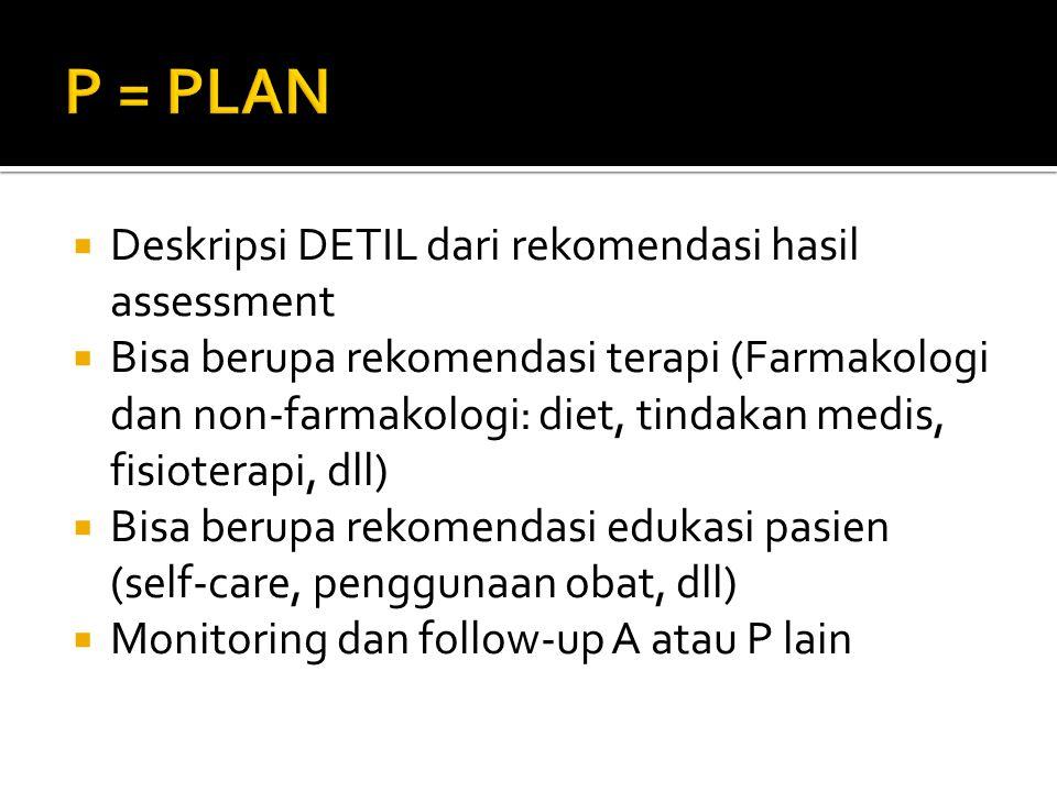 P = PLAN Deskripsi DETIL dari rekomendasi hasil assessment