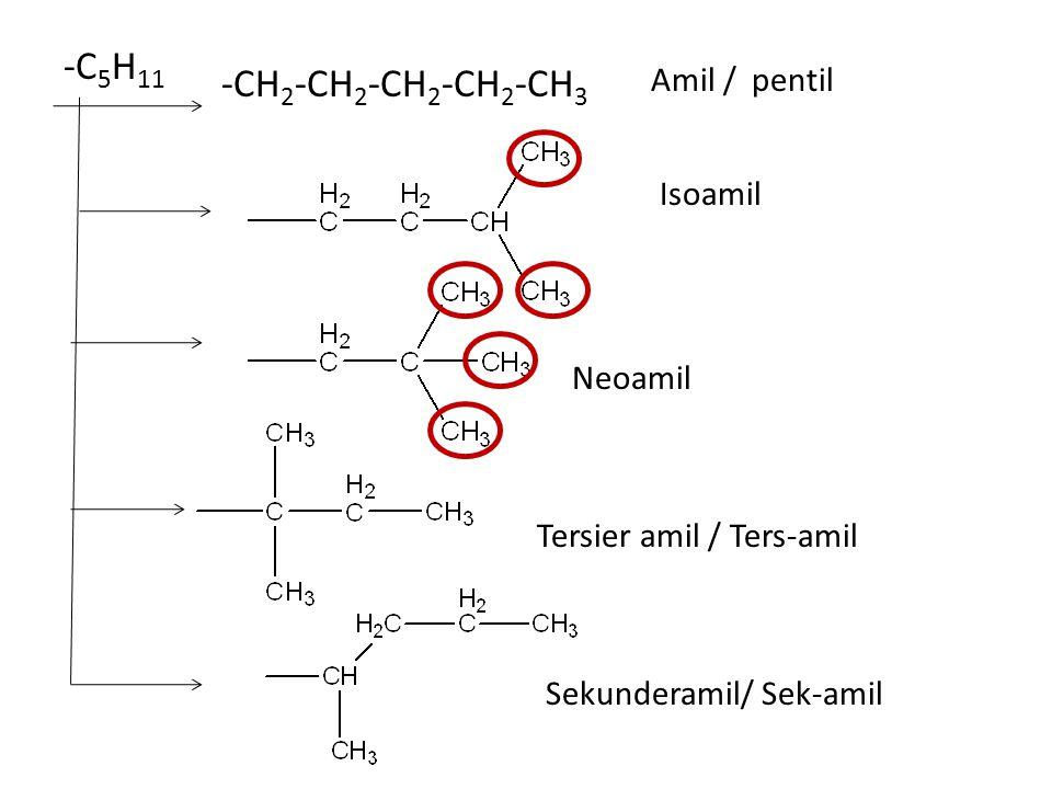 -C5H11 -CH2-CH2-CH2-CH2-CH3 Amil / pentil Isoamil Neoamil