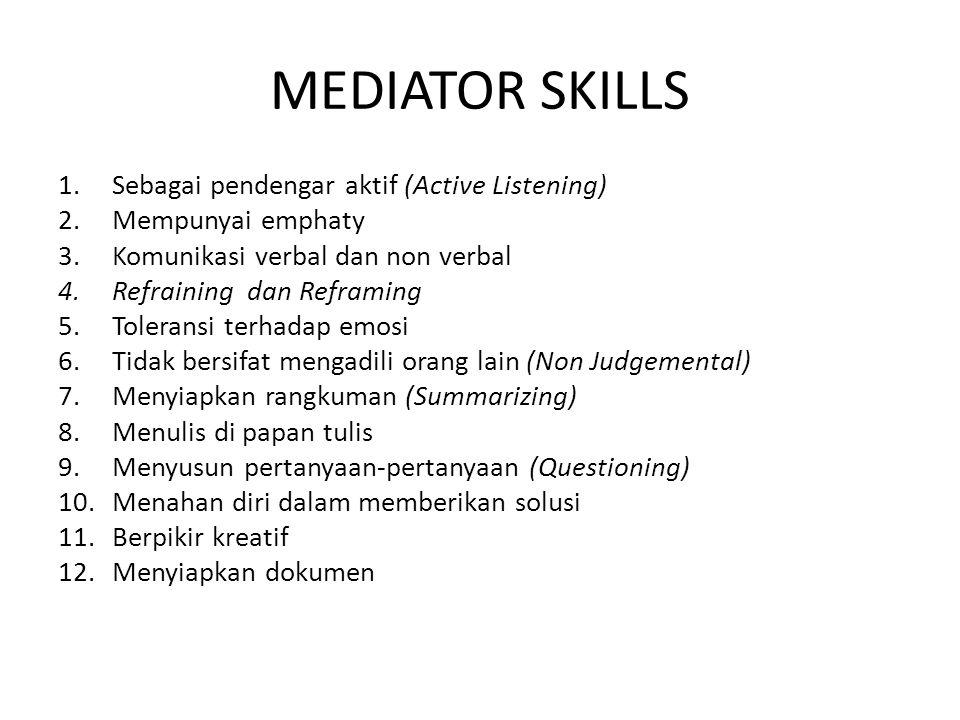 MEDIATOR SKILLS Sebagai pendengar aktif (Active Listening)