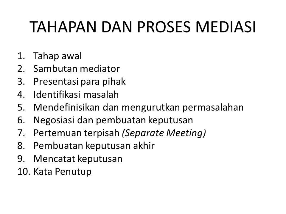 TAHAPAN DAN PROSES MEDIASI