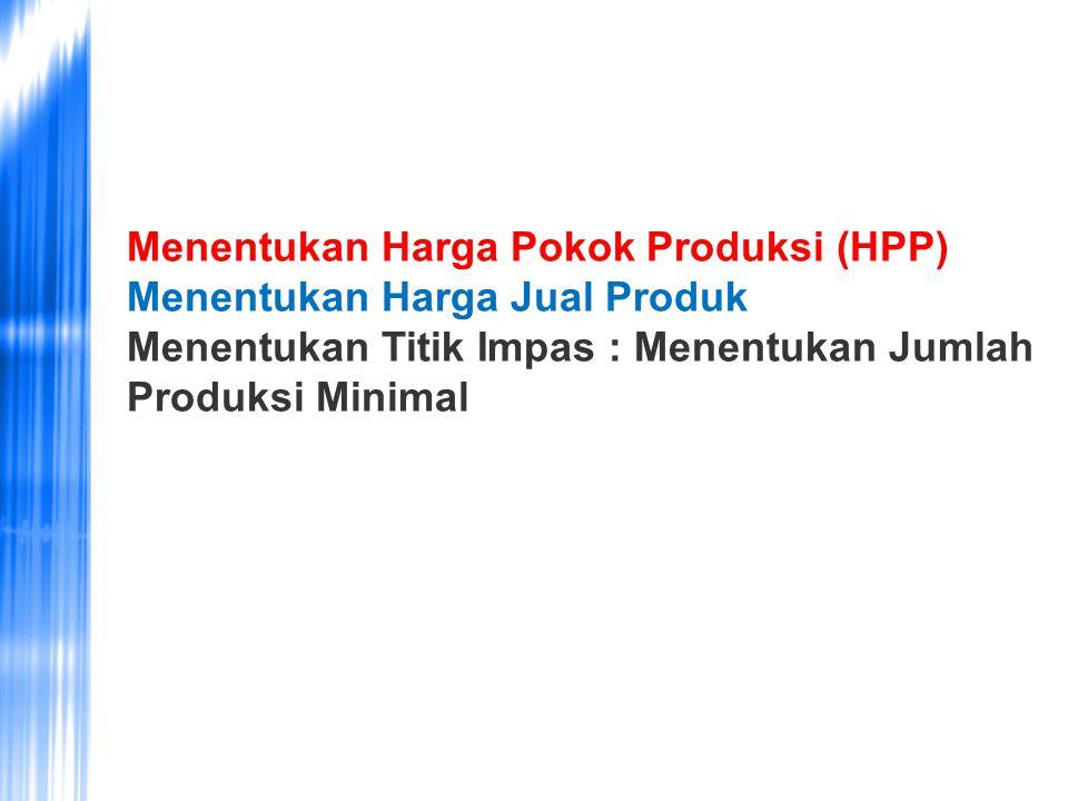 Menentukan Harga Pokok Produksi (HPP) Menentukan Harga Jual Produk Menentukan Titik Impas : Menentukan Jumlah Produksi Minimal