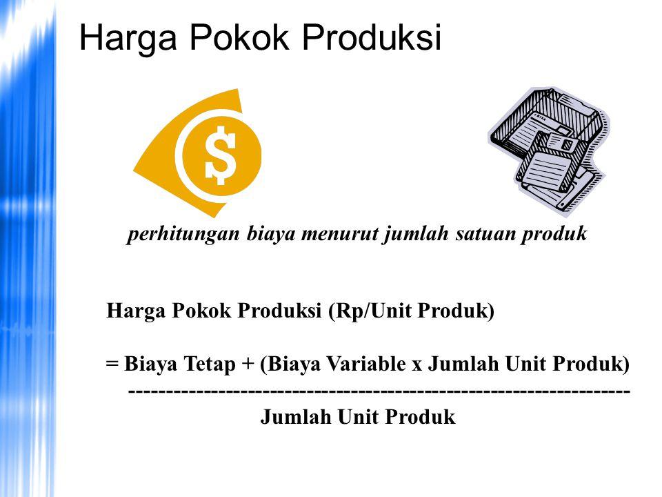Harga Pokok Produksi perhitungan biaya menurut jumlah satuan produk