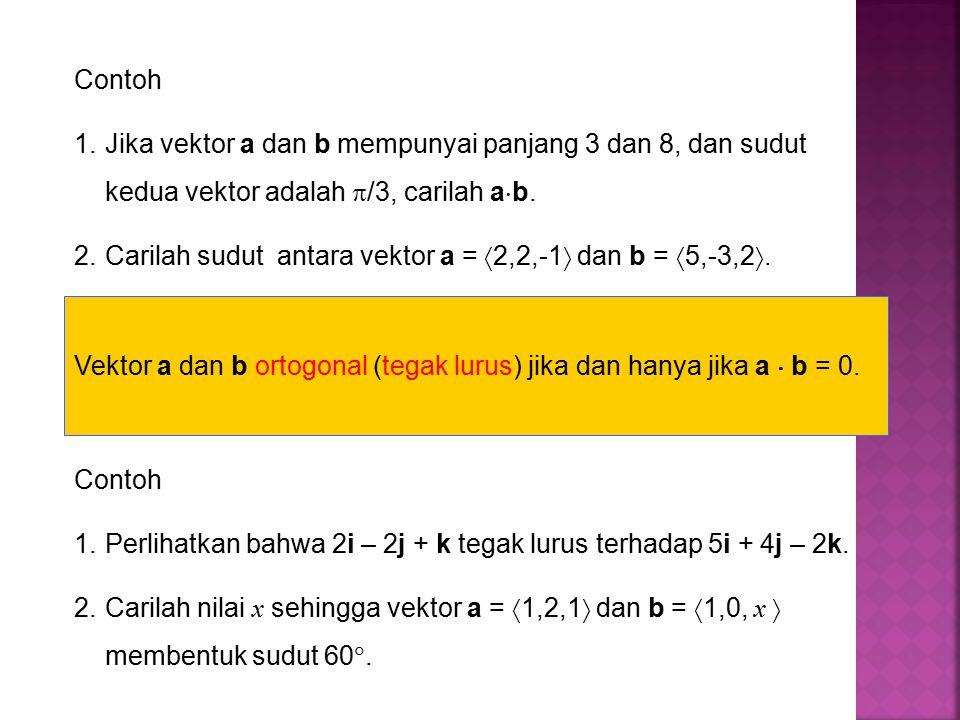 Contoh Jika vektor a dan b mempunyai panjang 3 dan 8, dan sudut kedua vektor adalah /3, carilah ab.