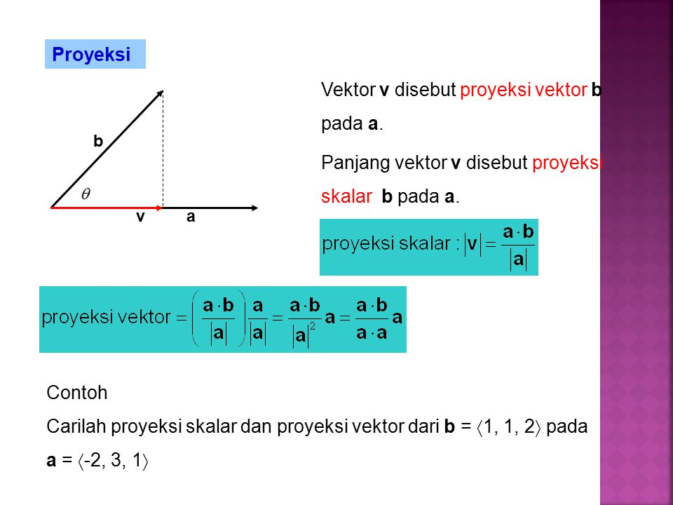 Vektor v disebut proyeksi vektor b pada a.