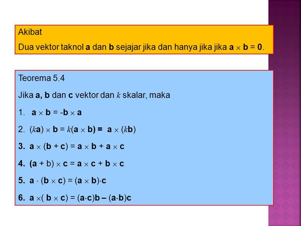 Akibat Dua vektor taknol a dan b sejajar jika dan hanya jika jika a  b = 0. Teorema 5.4. Jika a, b dan c vektor dan k skalar, maka.