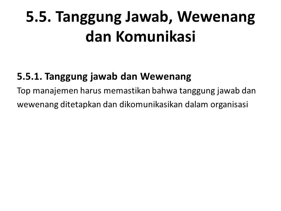 5.5. Tanggung Jawab, Wewenang dan Komunikasi