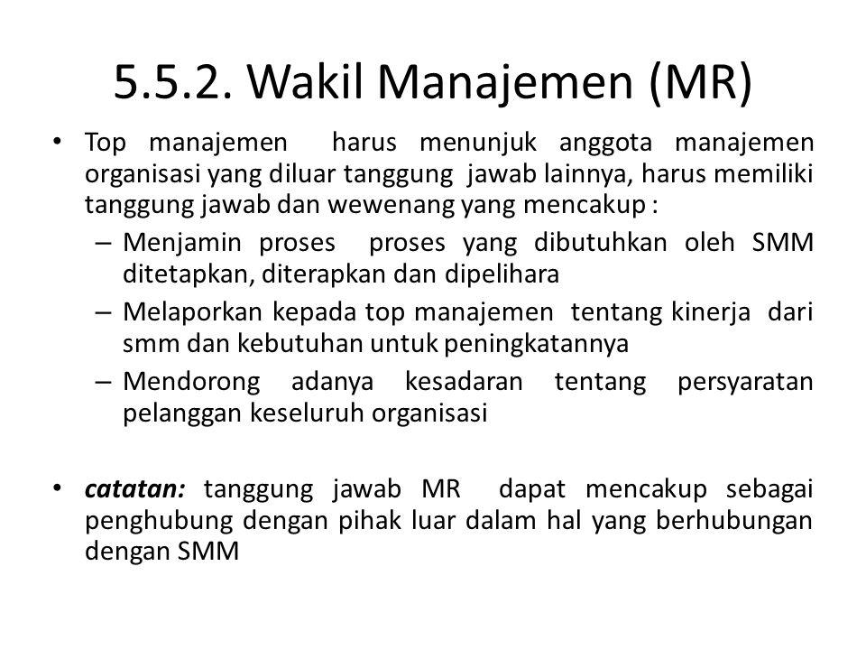 5.5.2. Wakil Manajemen (MR)