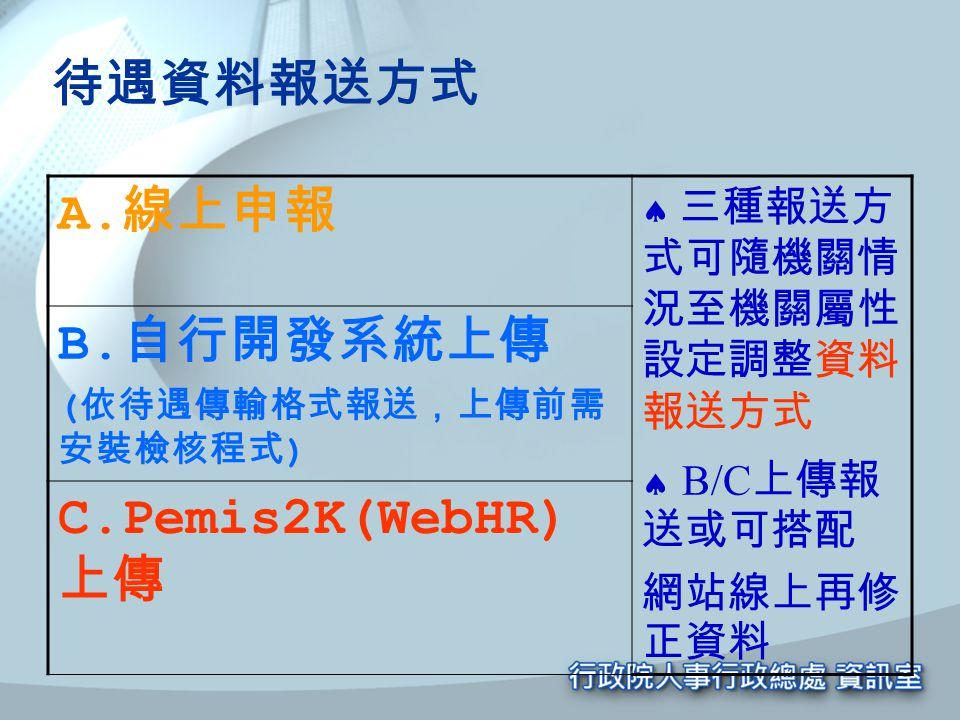 待遇資料報送方式 A.線上申報 B.自行開發系統上傳 C.Pemis2K(WebHR)上傳 網站線上再修正資料