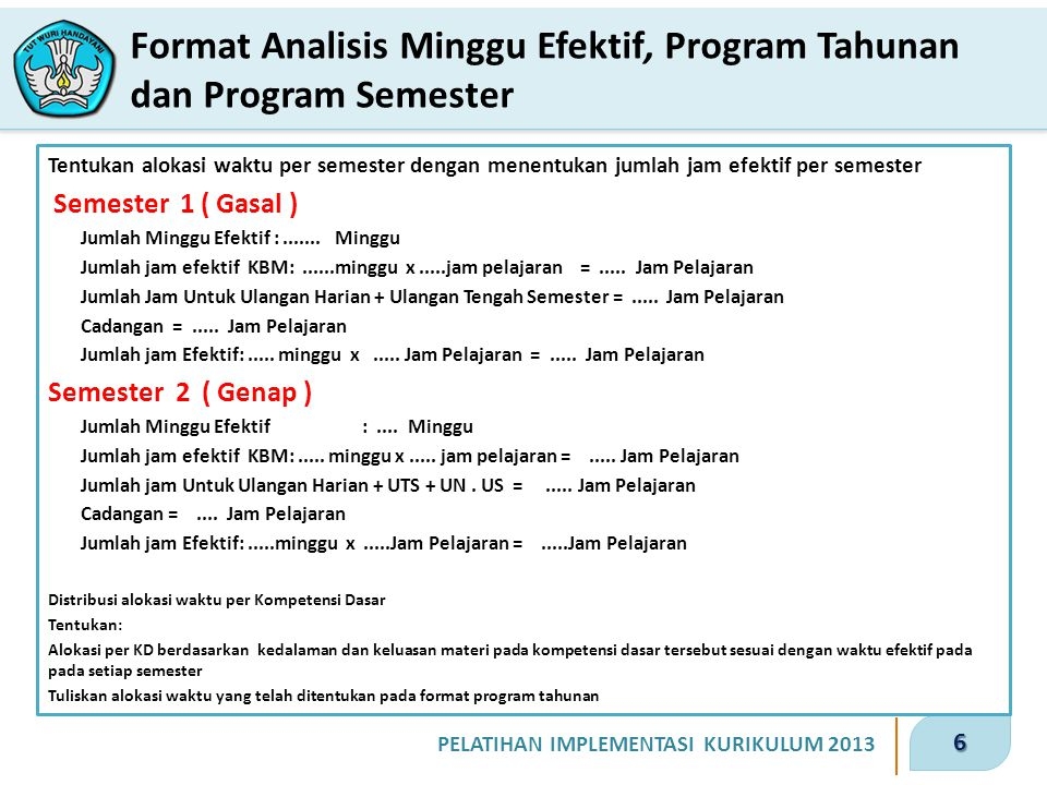 Format Analisis Minggu Efektif, Program Tahunan dan Program Semester
