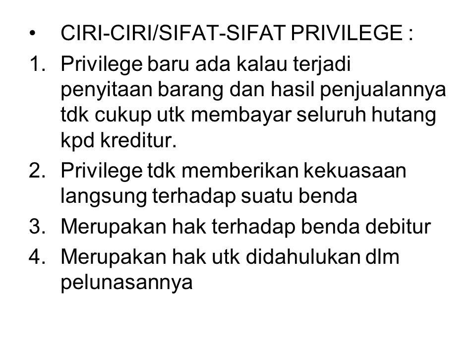 CIRI-CIRI/SIFAT-SIFAT PRIVILEGE :