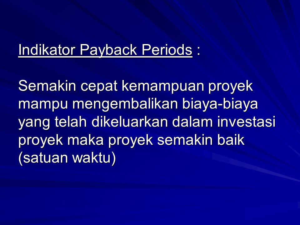 Indikator Payback Periods : Semakin cepat kemampuan proyek mampu mengembalikan biaya-biaya yang telah dikeluarkan dalam investasi proyek maka proyek semakin baik (satuan waktu)