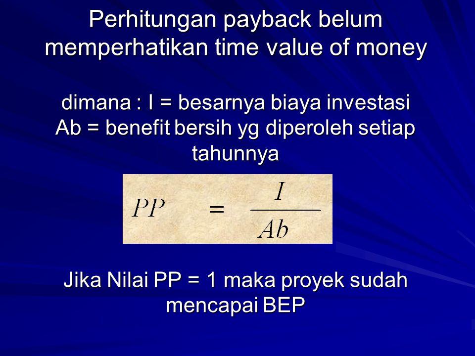 Jika Nilai PP = 1 maka proyek sudah mencapai BEP