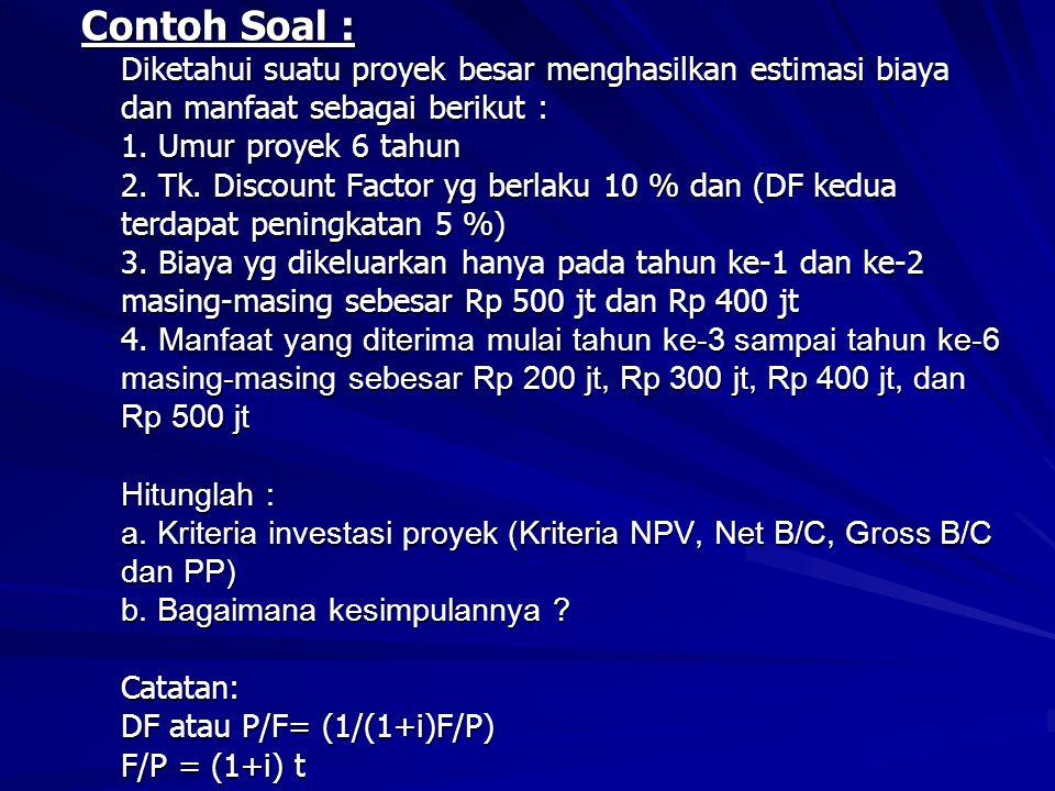 Contoh Soal : Diketahui suatu proyek besar menghasilkan estimasi biaya dan manfaat sebagai berikut : 1.