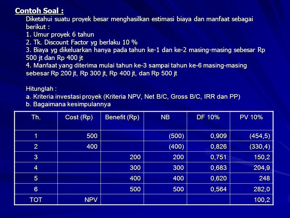 Contoh Soal : Diketahui suatu proyek besar menghasilkan estimasi biaya dan manfaat sebagai berikut : 1. Umur proyek 6 tahun 2. Tk. Discount Factor yg berlaku 10 % 3. Biaya yg dikeluarkan hanya pada tahun ke-1 dan ke-2 masing-masing sebesar Rp 500 jt dan Rp 400 jt 4. Manfaat yang diterima mulai tahun ke-3 sampai tahun ke-6 masing-masing sebesar Rp 200 jt, Rp 300 jt, Rp 400 jt, dan Rp 500 jt Hitunglah : a. Kriteria investasi proyek (Kriteria NPV, Net B/C, Gross B/C, IRR dan PP) b. Bagaimana kesimpulannya