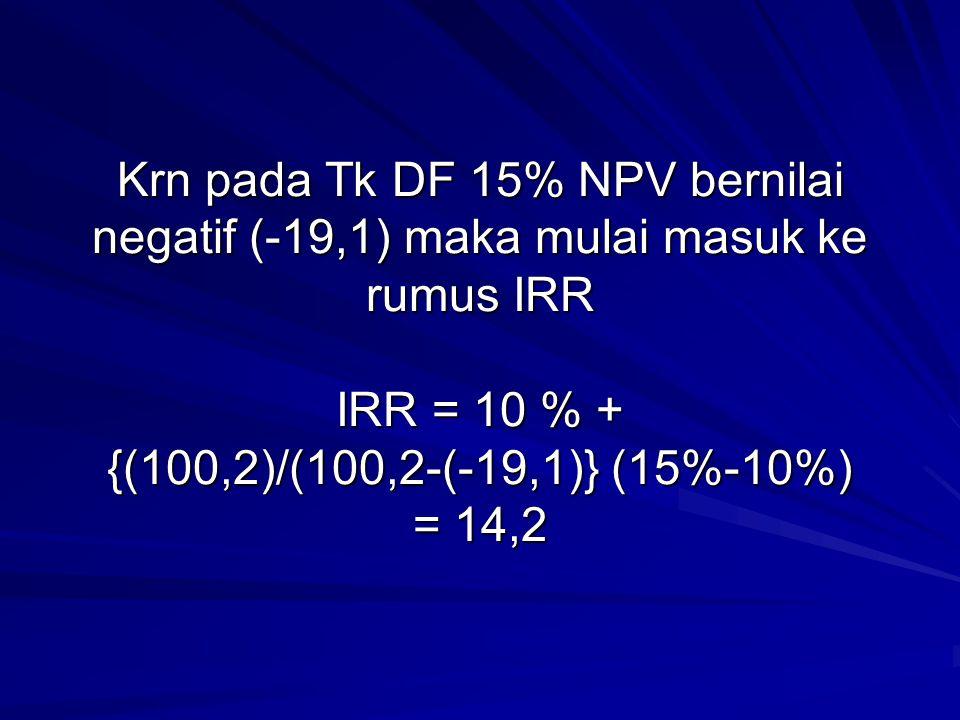 Krn pada Tk DF 15% NPV bernilai negatif (-19,1) maka mulai masuk ke rumus IRR IRR = 10 % + {(100,2)/(100,2-(-19,1)} (15%-10%) = 14,2