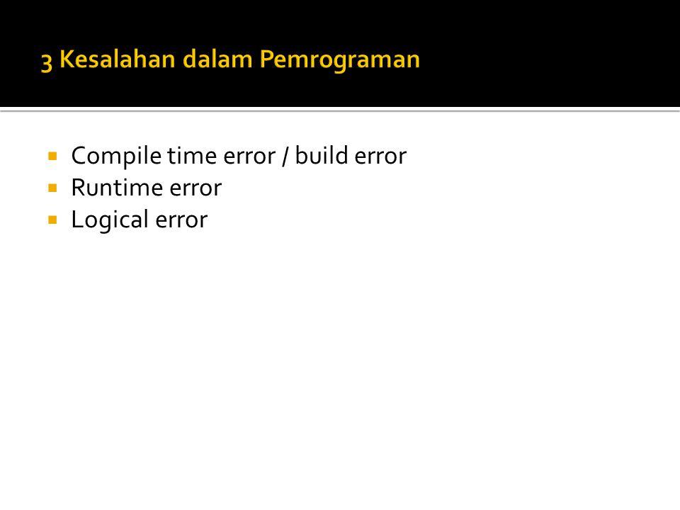 3 Kesalahan dalam Pemrograman