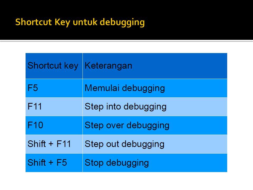 Shortcut Key untuk debugging