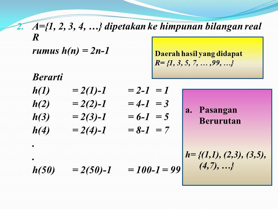 A={1, 2, 3, 4, …} dipetakan ke himpunan bilangan real R