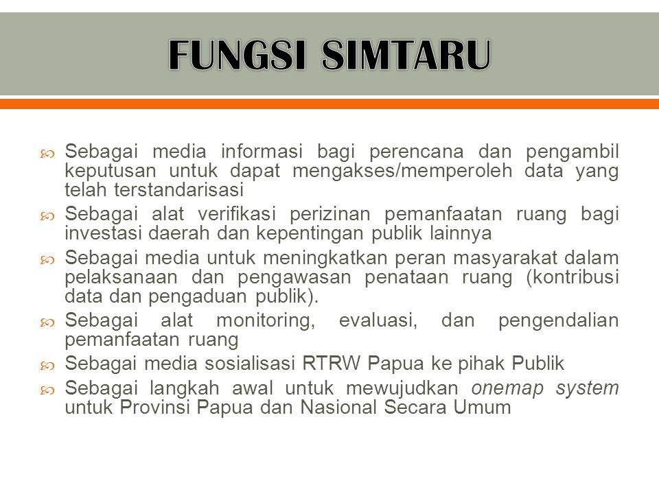 FUNGSI SIMTARU Sebagai media informasi bagi perencana dan pengambil keputusan untuk dapat mengakses/memperoleh data yang telah terstandarisasi.