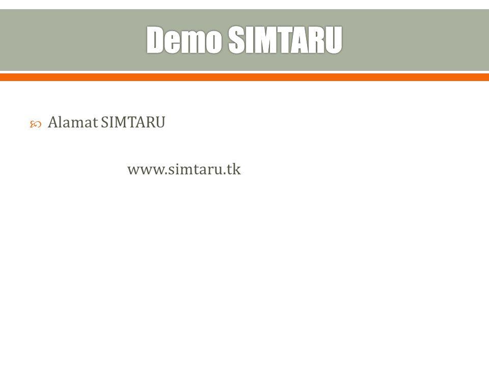 Demo SIMTARU Alamat SIMTARU www.simtaru.tk