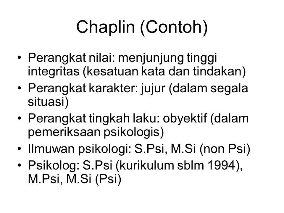 Chaplin (Contoh) Perangkat nilai: menjunjung tinggi integritas (kesatuan kata dan tindakan) Perangkat karakter: jujur (dalam segala situasi)
