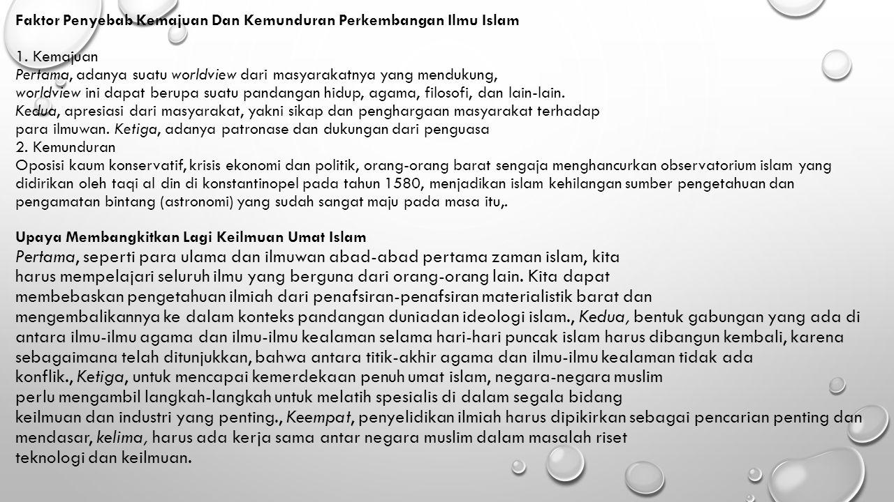 Faktor Penyebab Kemajuan Dan Kemunduran Perkembangan Ilmu Islam 1