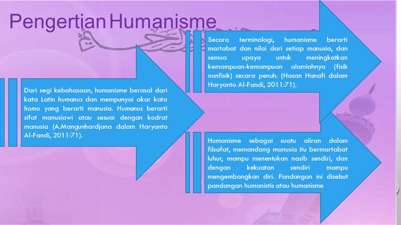 Secara terminologi, humanisme berarti martabat dan nilai dari setiap manusia, dan semua upaya untuk meningkatkan kemampuan-kemampuan alamiahnya (fisik nonfisik) secara penuh. (Hasan Hanafi dalam Haryanto Al-Fandi, 2011:71).