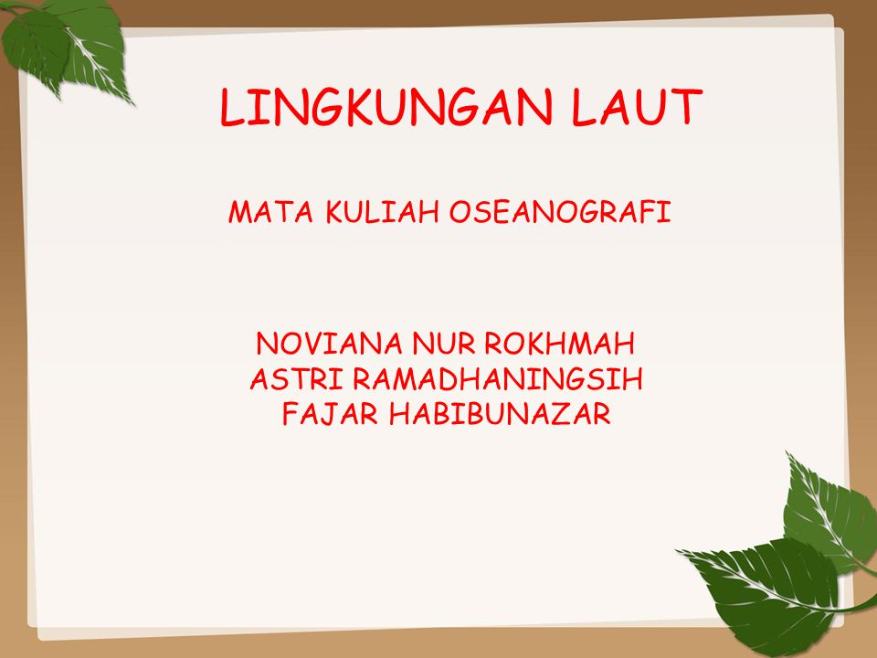 MATA KULIAH OSEANOGRAFI