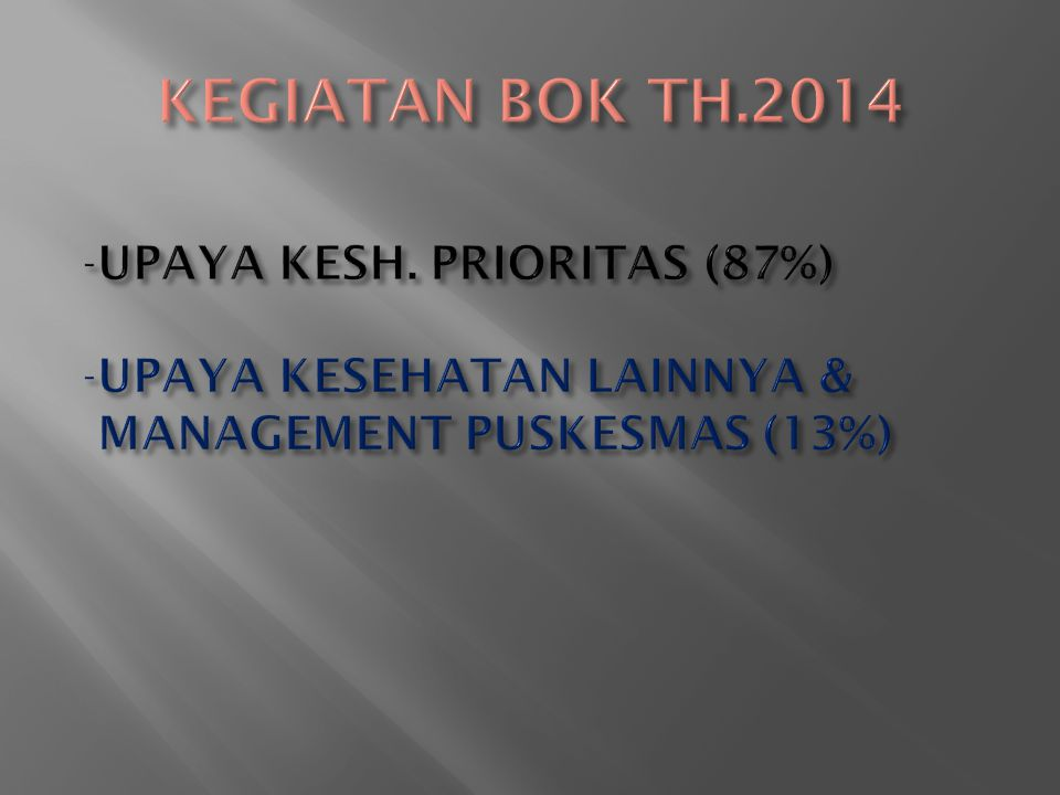 KEGIATAN BOK TH.2014 UPAYA KESH. PRIORITAS (87%)