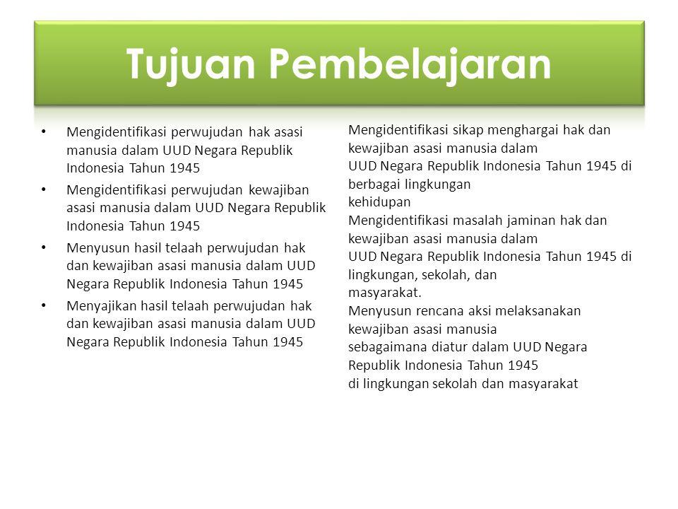Tujuan Pembelajaran Mengidentifikasi perwujudan hak asasi manusia dalam UUD Negara Republik Indonesia Tahun 1945.