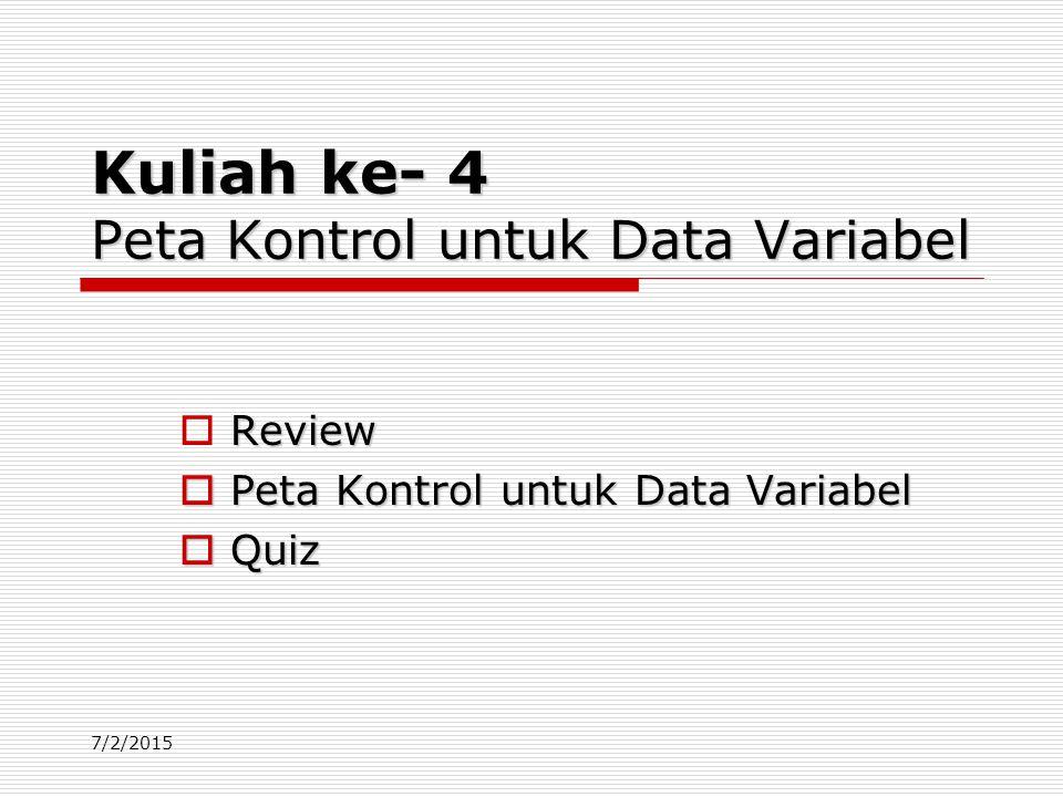 Kuliah ke- 4 Peta Kontrol untuk Data Variabel
