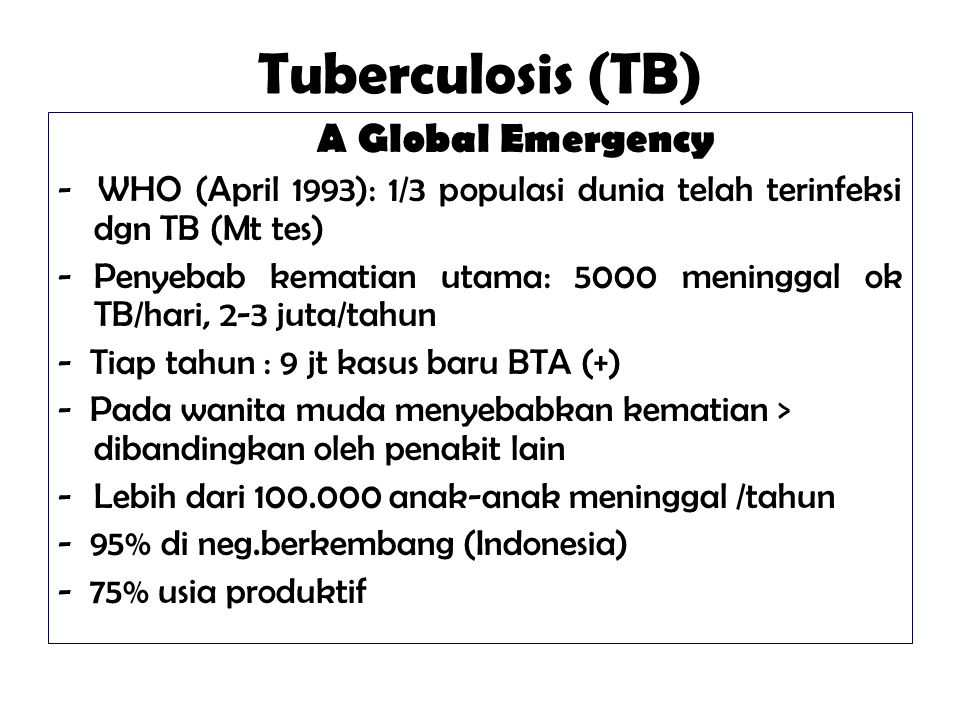 Tuberculosis (TB) A Global Emergency