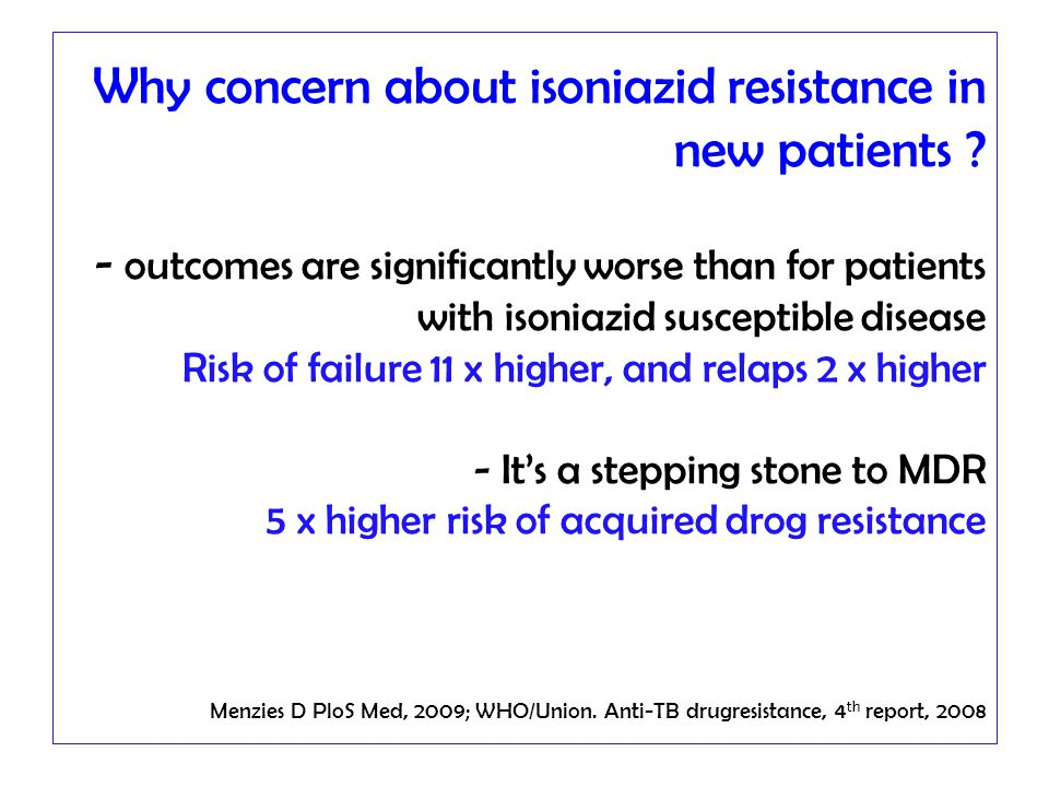 Why concern about isoniazid resistance in new patients